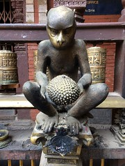 IMG_4408 (RubyWhatever) Tags: nepal kathmanduvalley patan goldentemple jackfruit statue monkey