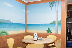 Malacoota VIC, 2017 (jamiehladky) Tags: malacoota vic victoria australia cafe diner table chair interior dining jamiehladky hladky canon flektogon 5diii mural artwork