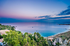 Pink sea, the cliff sunset in Taormina (chenjieyu) Tags: taormina sicilia 意大利 it sicily cliff town italy sunset pink colour ocean sky sea water landscape nature