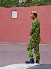 Soldier on Pedestrian Watch (mikecogh) Tags: malacca soldier army uniform beret melaka