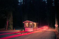 (patrickjoust) Tags: richardsongrovestatepark california redwoods entrygate red taillights forest dark night fujicagw690 kodakportra160 6x9 medium format 120 rangefinder 90mm f35 fujinon lens c41 color negative film cable release tripod long exposure after manual focus analog mechanical patrick joust patrickjoust united states estados unidos usa north america