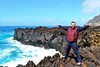 bear on the coast (ekelly80) Tags: azores portugal sãomiguel may2017 termasdaferraria pontadelgada coast rocks rocky water waves blue ocean atlanticocean black lava lavarocks happy windy wind