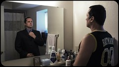 Reflect (Billy Woolfolk) Tags: olympus omd em1 microfourthirds m43 mft selfie selfportrait trick double mirror mirrorless suit batman オリンパス ミクロフォアサーズ 自分撮り 鏡 スーツ