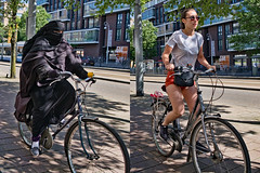 women on their bikes (digitris) Tags: candid street city amsterdam women bike bicycle shorts hotpants burka niqab moderntimes digitris digitri canon g7xmarkii canong7xmarkii
