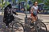 women on their bikes (digitris) Tags: candid street city amsterdam women bike bicycle shorts hotpants burka niqab moderntimes digitris digitri canon g7xmarkii canong7xmarkii פז