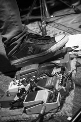 Tom Watson's Foot Pedals (Notley) Tags: httpwwwnotleyhawkinscom notleyhawkinsphotography notley notleyhawkins 10thavenue monochrome blackandwhite mikewattthejomterryshow mikewatt bassplayer concert concertphotography rosemusichall columbiamissouri 2017 may