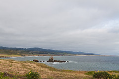 The view from Pigeon Point (jbp274) Tags: ocean clouds sky cloudy scenery landscape pigeonpoint rocks fence