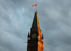 Golden Hour on Parliament Hill (Beard&Glasses) Tags: gothic clock tower flag peacetower ottawa explorecanada exploreontario ontario on canon dslr rebel t6s parliament houseofcommons discoveron