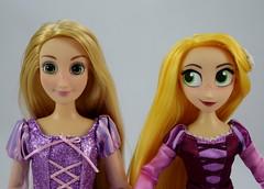 Classic Rapunzel Doll (2016) vs Rapunzel Adventure Doll (2017) - Deboxed - Standing Side by Side - Portrait Front View (drj1828) Tags: us disneystore rapunzel tangled comparison 12inch 10inch posable doll deboxed