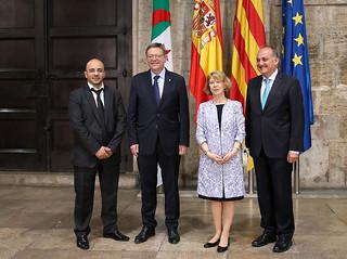 El President de la Generalitat, Ximo Puig, recibe en audiencia a la embajadora de Argelia en España, Taous Feroukhi. 26/05/2017.