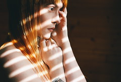 Sun Spots (technicolor dreams) Tags: girl orange red hair pale tattoos septum piercing canon 60mm t3 1100d indoors light window portrait self