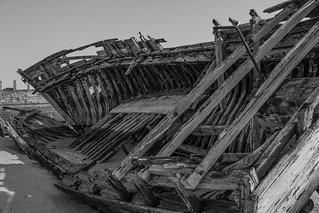 squelette de bateau n&b