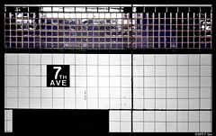 Array of Ceramic Tiles - Midtown, New York City, NY. (SpottingWithTom) Tags: abstract photography selective coloring close nyc manhattan 7th ave 53rd street subway mta underground urban new york city
