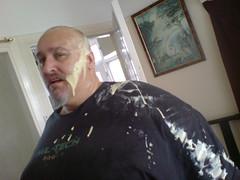 Children are fun! (BasilSimonUK) Tags: fun man custard covered attacked shocked victim sperm paint mayonaise saladcream cream large obese obesity