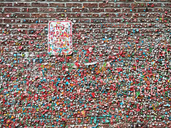 No parking at any time (Ruth and Dave) Tags: gumwall pikeplace alley seattle gum wall sign noparking chewinggum bubblegum covered obscured disgusting gross weird cool