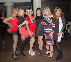 Six Lovely Ladies! (kaceycd) Tags: crossdress tg tgirl lycra spandex peplum minidress platino pantyhose pumps peeptoepumps opentoepumps anklestrappumps highheels stilettopumps stilettoheels sexypumps stilettos vanityclub vc vcgirls s