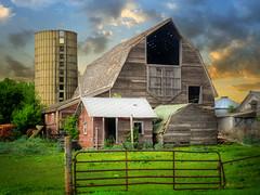 Old farm 2 (mrbillt6) Tags: northdakota landscape rural prairie barn farm silo fence tractor buildings grass outdoors country countryside summer
