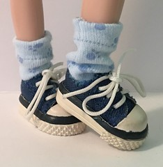 Little Doggie Toes...Baby Blue Short Socks For Blythe...