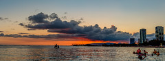 Sunset @ Ala Moana Beach (JUNEAU BISCUITS) Tags: alamoanabeachpark alamoana sunset hawaii ocean oahu waikiki nikond810 nikon canoe paddler panorama pano panoramic honolulu