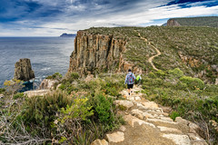 Cape Hauy Track (NettyA) Tags: 2017 3capestrack australia sonya7r tasmannationalpark tasmanpeninsula tasmania tassie threecapestrack bushwalk bushwalking day4 hike capehauytrack hiking cliffs track trail clouds sea seascape dolerite rocks themonument bushwalkers hikers path stone