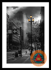When The Lights Go Down In San Francisco Framed Print (wingsdomain.com) Tags: wingsdomain surreal surrealism sanfrancisco california bayarea streetlight streetlights streetlamp streetlamps lamp lamps light lights downtown cities city cityscape urban metro metropolitan metropolis urbanlandscape financialdistrict architecture building buildings vintage old classic tallbuilding flag americanflag marketstreet montgomerystreet street streets streetscene streetscenes streetscape palacehotel hotel mckessonplaza blackandwhite wingtong moon buy purchase sell forsale prints poster posters framedprint canvasprint metalprint fineart wallart walldecor homedecor greetingcard print art photograph photography