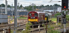 On the avoiding curve, at Norwich Crown Point, 20227, D8 & 20142 await the road and their onward journey to the North Norfolk Railway at Sheringham. 05 06 2017 (pnb511) Tags: class 20class 44rograil operations groupcrown pointcurvedepotsignaltracksidingstrainsrailwaynorwichgreat eastern mainline geml track train trains loco locomotive diesel
