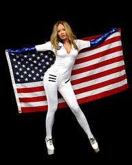 laurapalmerpdx (cody10414) Tags: strobist diystudio d200 primelens gimp vintage retro scifi cosplay outerspace alien astronaut sexy cute pretty uniform spandex heels highheels flag usflag patriotic blonde