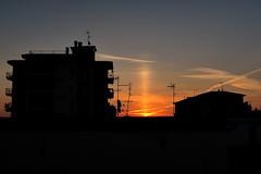 Sun pillar at sunrise (flubatti) Tags: