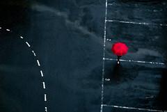 跨越 (lgf55555(基福)) Tags: 傘 雨 線條 雨中行 停車格 分格線 紅色 跨越