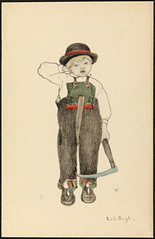 Barnemotiv av Lisbeth Bergh / Child by Lisbeth Bergh (National Library of Norway) Tags: nasjonalbiblioteket nationallibraryofnorway postkort postcards lisbethbergh kunstnerkort barn children folkedrakter setesdalsbunad setesdal