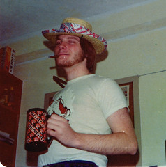 Dorm Photos (kevin63) Tags: lightner photo photoshop portrait photograph hat john dorm glenvillestatecollege 70s 1970s 1974 snapshot candid room cigar kevin red beard strawhat clinteastwood highplainsdrifter louisbennethall