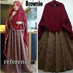 BROWNIE Maxi (Tanpa Hijab)  Matt : Dress Crepe Monalisa HQ Detail: Ld 106cm Pb 140cm Busui Serut muter Tangan Kancing Umbrella Good Quality Harga : 160.000 thumbnail