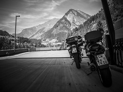 last fuel stop at Passeier valley heading north up to the Timmelsjoch (tamapix) Tags: bmw motorrad timmelsjoch ötztal bnw bw monochrome bike alpen italy austria serpentines exponed street canon s100 gs f800 cs f650 black white blackandwhite blackwhite sky mountain valley nature green lantern gas station benzin fuel