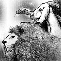 Chimera (Gustavo Rinaldi) Tags: illustration art digitalillustration digitalart photoshop kylebrush gustavorinaldi blackandwhite chimera mythology creature