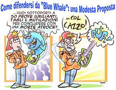 """Blue Whale Game: una Modesta Proposta (Moise-Creativo Galattico) Tags: editoriali moise moiseditoriali """"editorialiafumetti"""" giornalismo attualità satira vignette bluewhalegame"""