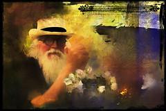 Walter (WayneToTheMax) Tags: walter amazin sand portrait beard glasses round fire fireplace hands flowers rose grunge photoshop hat kerrville old man nikon d750 topaz