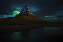magic mountain (Andy Kennelly) Tags: iceland aurora nightphotography night mountain magic green kirkjufell winter february snow reflection northernlights auroraborealis
