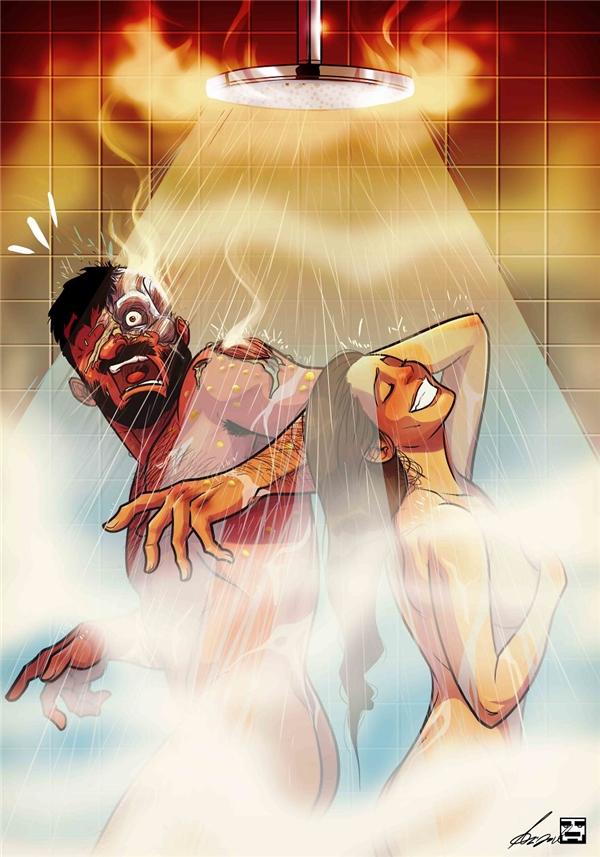 """Và chính vì là """"loài máu lạnh"""" nên lúc tí ta tí tởn tắm chung với vợ sẽ bị """"lột da sống"""" vì hình như... """"mẻ toàn tắm bằng nước sôi""""."""