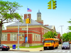 Public Elementary School (dimaruss34) Tags: newyork brooklyn dmitriyfomenko image sky clouds sheepsheadbay manhattanbeach school mailbox trafficlight car flag trees