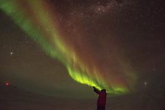 The Wizard (redfurwolf) Tags: southpole antarctica antarctic sky auroraaustralis aurora stars milkyway wizard person snow ice night nightsky outdoor redfurwolf landscape fisheye light sonyalpha a7r sony