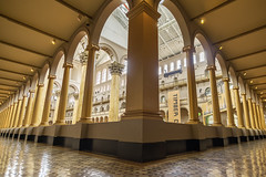 Corner View of National Building Museum Interior (jtgfoto) Tags: approved architecture nationalbuildingmuseum nbm washington washingtondc dc historic building structure sonyimages sonyalpha judiciarysquare interior columns openspace perspective wideangle wideanglelens rokinon gold balcony balconies