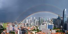Double rainbow over downtown Singapore (Tatyana Kildisheva) Tags: asia singapore singapura southeastasia doublerainbow rainbow азия сингапур юговосточнаяазия dsc3467pano skyline singaporeskyline