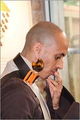 Portrait of A Stranger (Mabacam) Tags: 2017 london londonfashionweekmens man earing portrait profile brown cream orange