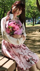You're Giving Me Flowers? (emotiroi auranaut) Tags: woman lady lovely pretty sweet happy happiness gorgeous romance romantic love adorable cute elegant dress flowers bouquet park bench delight delighted gentleman natural light shade