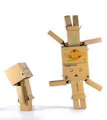 Danbo. Thats clever. (CWhatPhotos) Tags: cwhatphotos colour color photographs photograph pics pictures pic picture image images foto fotos photography artistic that have which with contain olympus epl5 box danbo danboard toy mini light shadow shadows small dambo cartoon character head