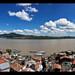 Panoramic View  of Janitzio island on Lake Patzcuaro, Michoacan, Mexico