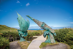 Meeting of Two Worlds Sculpture, L'Anse aux Meadows National Historic Site, Western (Newfoundland and Labrador Tourism) Tags: meeting two worlds sculpture lanse l anse aux meadows national historic site western history parks culture park canada unesco world heritage northern peninsula viking vikings archway walking trail archaeological european north american aboriginal