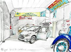 Croctoo au garage, La Ford C Max sous l'oeil de la Renault Celtaquatre (Croctoo) Tags: auto autoancienne autos croctoo croquis croctoofr crayon crocquis garage renault ford cmax celtaquatre