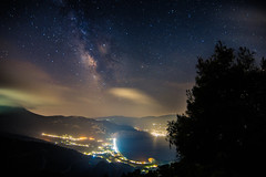 Milky Way rises over the sea (Vagelis Pikoulas) Tags: milky milkyway way universe galaxy stars star sky clouds night nightscape landscape long exposure dark darkness psatha europe greece may spring 2017 canon 6d tokina 1628mm full frame view sea seascape trees