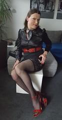 Rikky at dawn (Rikky_Satin) Tags: black satin silk blouse dress skirt red leather belt highheels sandals handbag crossdresser transvestite tgirl sissy secretary office stockings suspenders garterbelt nylons